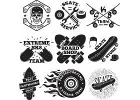 滑板户外运动单色主题标签标贴设计