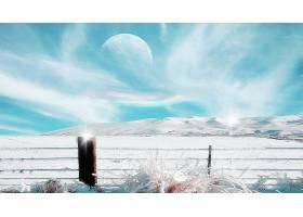 幻想,冬天的,行星,风景,雪,天空,壁纸,