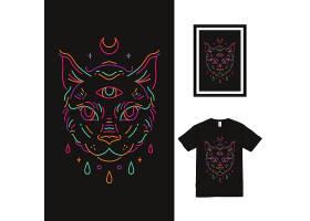 黑色多彩线条手绘T恤插画图案设计