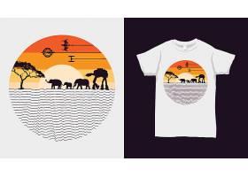非洲野生动物落日条纹彩虹色黑底T恤插画图案设计