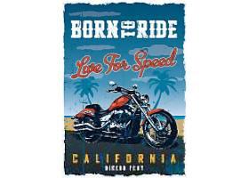 美式复古摩托车主题经典T恤图案插画设计