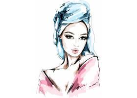 水彩手绘美丽的年轻和时尚女孩