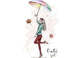 撑着雨伞的美女