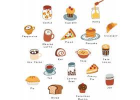 手绘早餐咖啡甜点