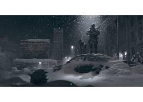 勇士,军人,降雪,冬天的,壁纸,