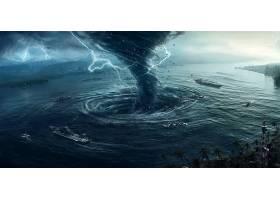 启示录的,艺术的,龙卷风,海洋,小船,飞机,带菌者,壁纸,
