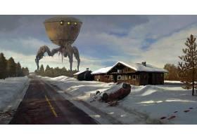 外星人,冬天的,小木屋,血,雪,壁纸,