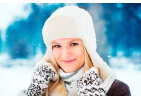 女人,模特,妇女,女孩,脸,微笑,深度,关于,领域,白皙的,冬天的,帽