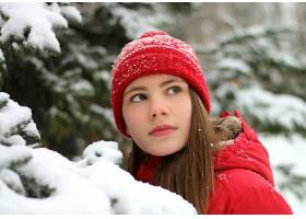 女人,模特,妇女,女孩,长的,头发,冬天的,雪,帽子,绿色的,眼睛,壁