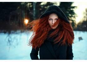 女人,模特,妇女,女孩,红发的人,头巾,深度,关于,领域,冬天的,蓝色