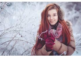 女人,模特,妇女,女孩,手套,冬天的,长的,头发,红发的人,微笑,蓝色