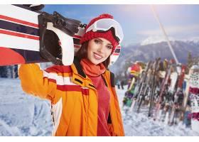 女人,模特,妇女,女孩,深度,关于,领域,滑雪板,冬天的,微笑,帽子,