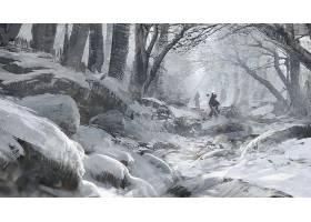 勇士,雪,艺术的,森林,降雪,冬天的,壁纸,