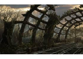 张贴,启示录的,铁路,车站,毁灭,壁纸,