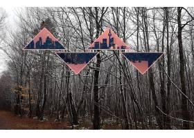 抽象,多景观,树,地平线,粉红色,冬天的,壁纸,