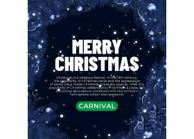 深色圣诞节树枝圣诞边框banner背景