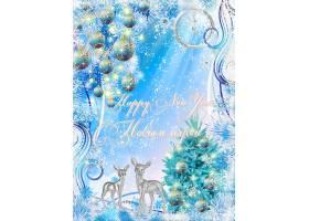 蓝色水晶小路圣诞节装饰球圣诞树装饰背景
