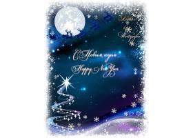 深色夜空月亮圣诞驯鹿圣诞老人海报设计