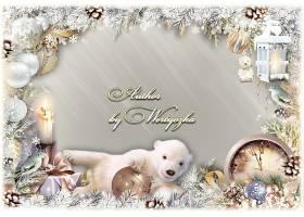 圣诞主题圣诞树枝装饰球灯饰边框设计