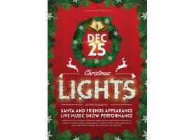 圣诞树树枝红底圣诞节主题海报设计