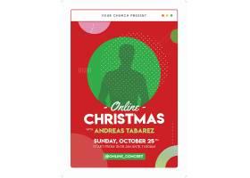 红绿色圣诞节人物剪影海报设计