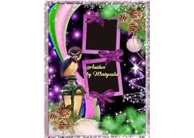 紫色圣诞节猫头鹰路灯圣诞树松鼠边框设计