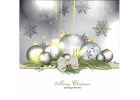 银色装饰球圣诞节新年快乐矢量插画设计