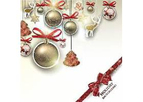 银色圣诞节装饰球banner背景