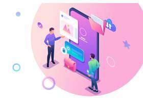 手机移动生活网络技术与商务人员立体等距矢量插画设计