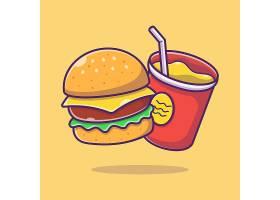 汉堡包可乐主题矢量插画设计