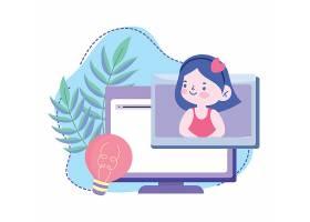 网上课程电脑显示器视频主题人物矢量插画设计