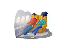 高铁飞机车厢主题人物矢量插画设计