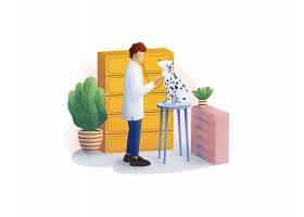 宠物医生兽医主题人物矢量插画设计