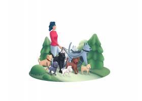 公园遛狗的女性主题人物矢量插画设计