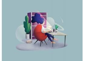 熬夜上网女性主题人物矢量插画设计