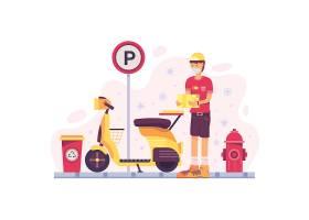 电动车送餐员快递物流主题人物矢量插画设计