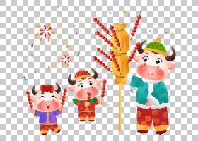 手绘插画风新年牛年小牛吃糖葫芦免抠元素