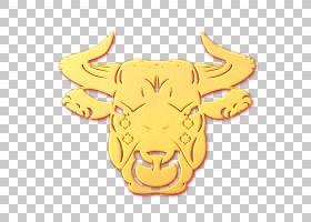 新年金色立体浮雕牛头装饰元素