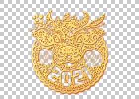 金色浮雕立体牛年2021剪纸设计