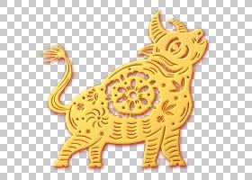 金色浮雕风剪纸福牛装饰元素
