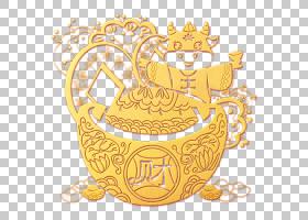 金色立体浮雕剪纸福牛元宝装饰元素