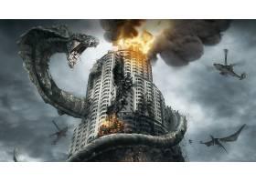 电影,d-战争,d-战争,建筑物,摩天大楼,火,龙,直升飞机,烟,壁纸,