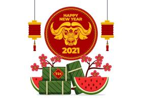 喜庆2021牛年平面设计新年配西瓜素材