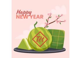 新年快乐杏花西瓜手绘花托