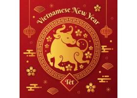金色和红色越南新年快乐2021年