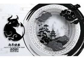 手工艺风格的中国新年牛年