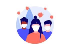 卡通戴面具抽象概念矢量插图病毒传播预防措施