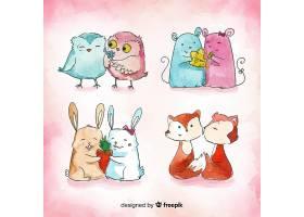动物情侣卡通情人节元素背景