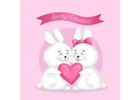手绘情人节小兔子情侣插画