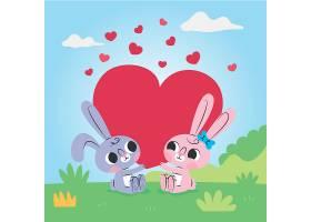 卡通可爱的情人节小兔子